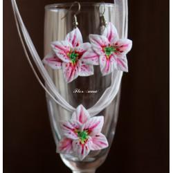 """""""Лилии"""" бело-розовый комплект украшений с цветами из полимерной глины"""