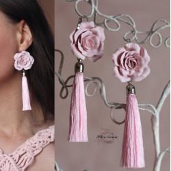 """""""Пыльные розы"""" розовые серьги кисти"""