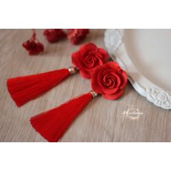 """""""Красные розы"""" серьги кисти"""
