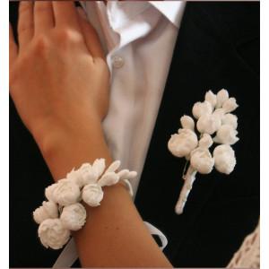 Наборы бутоньерка+цветочный браслет